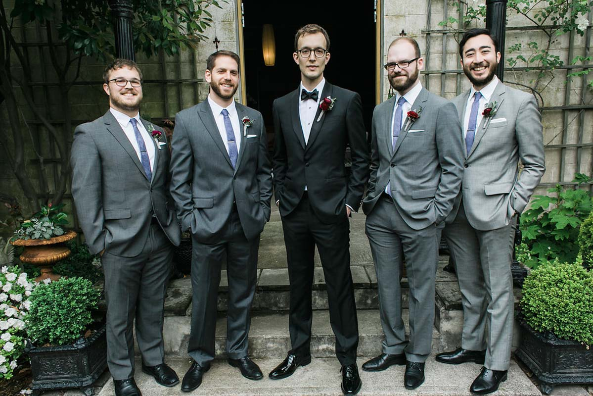 gray and purple groomsmen attire