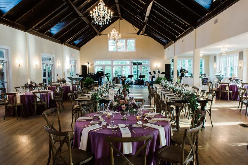 Purple weddings ideas photos the celebration society for Indoor wedding reception ideas