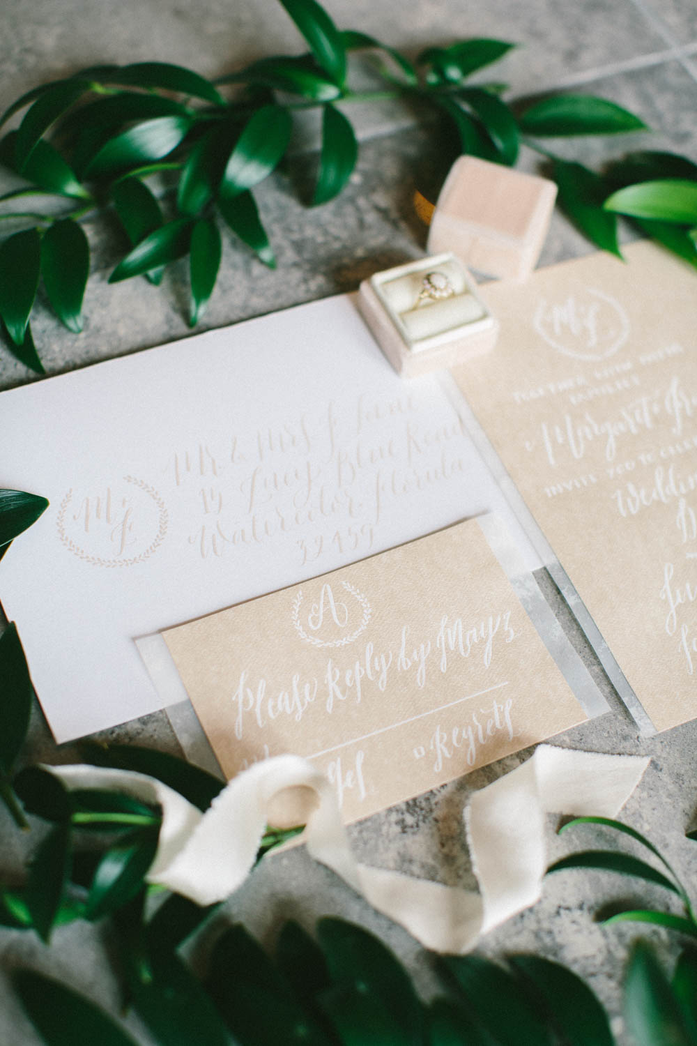beige and white wedding invitation