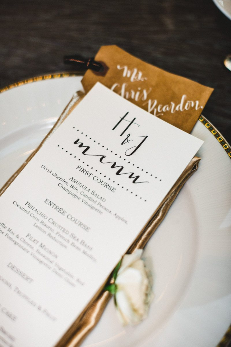 black-and-white-and-gold-reception-menu-card