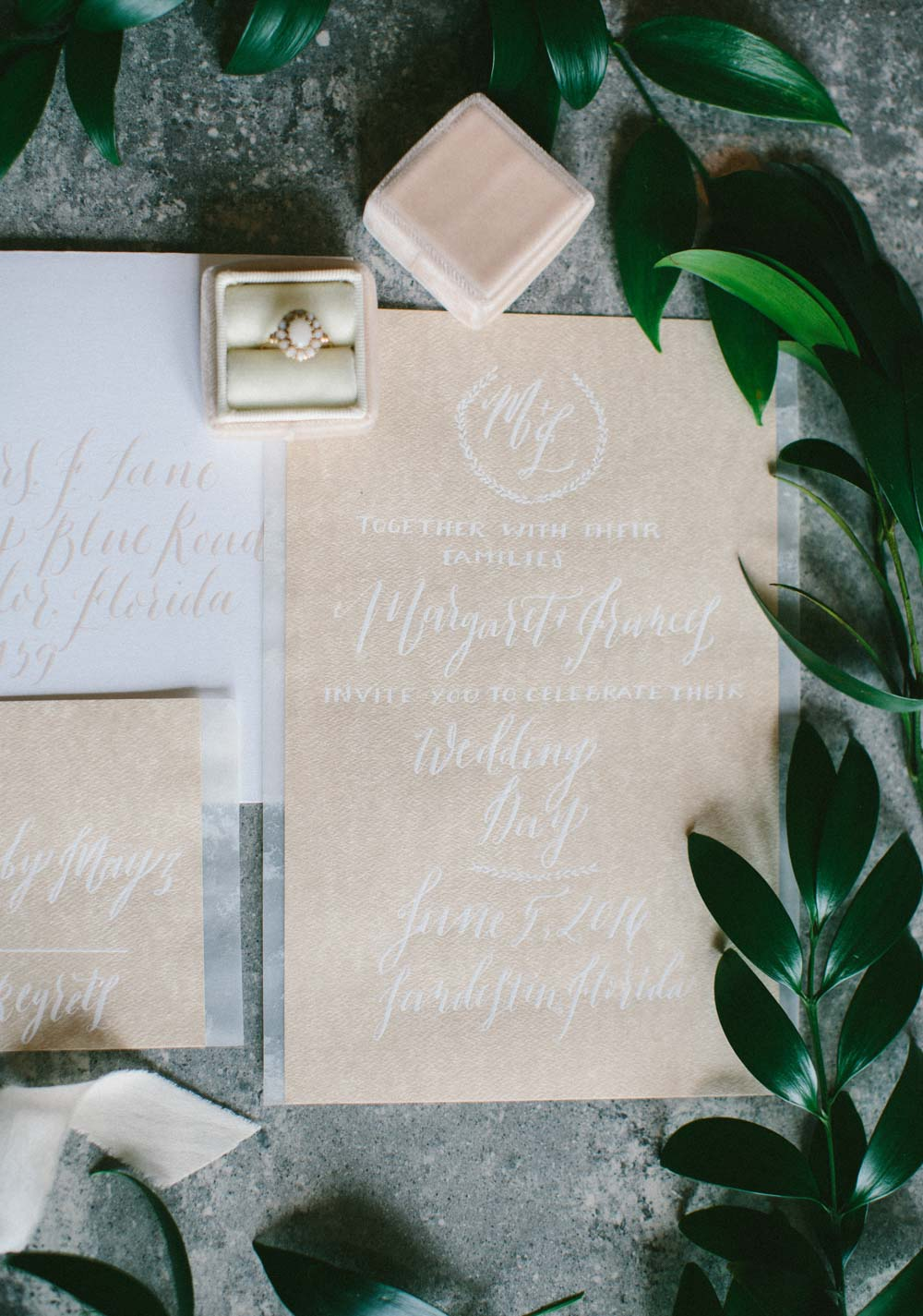 close up of beige and white lettering invitation