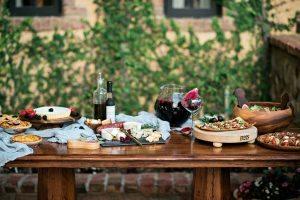 maroon italian wedding food inspiration pie sangria cheese flatbread pizza