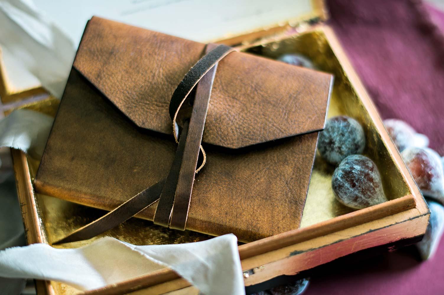 leather bound journal in wooden box wedding favor