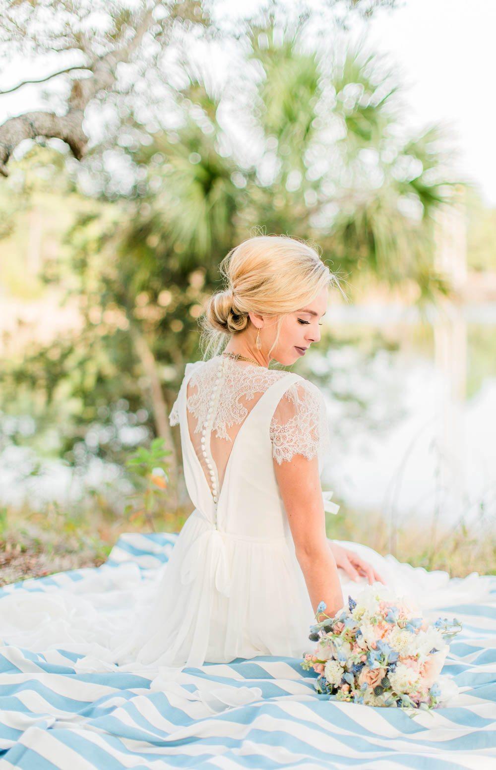 lace wedding dress bridal hair updo