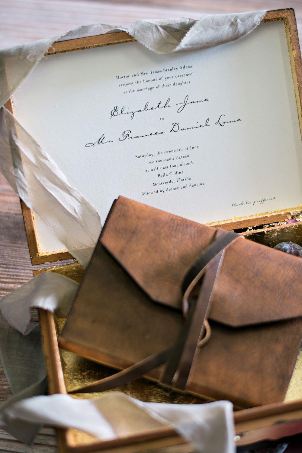leather bound journal wedding invitation