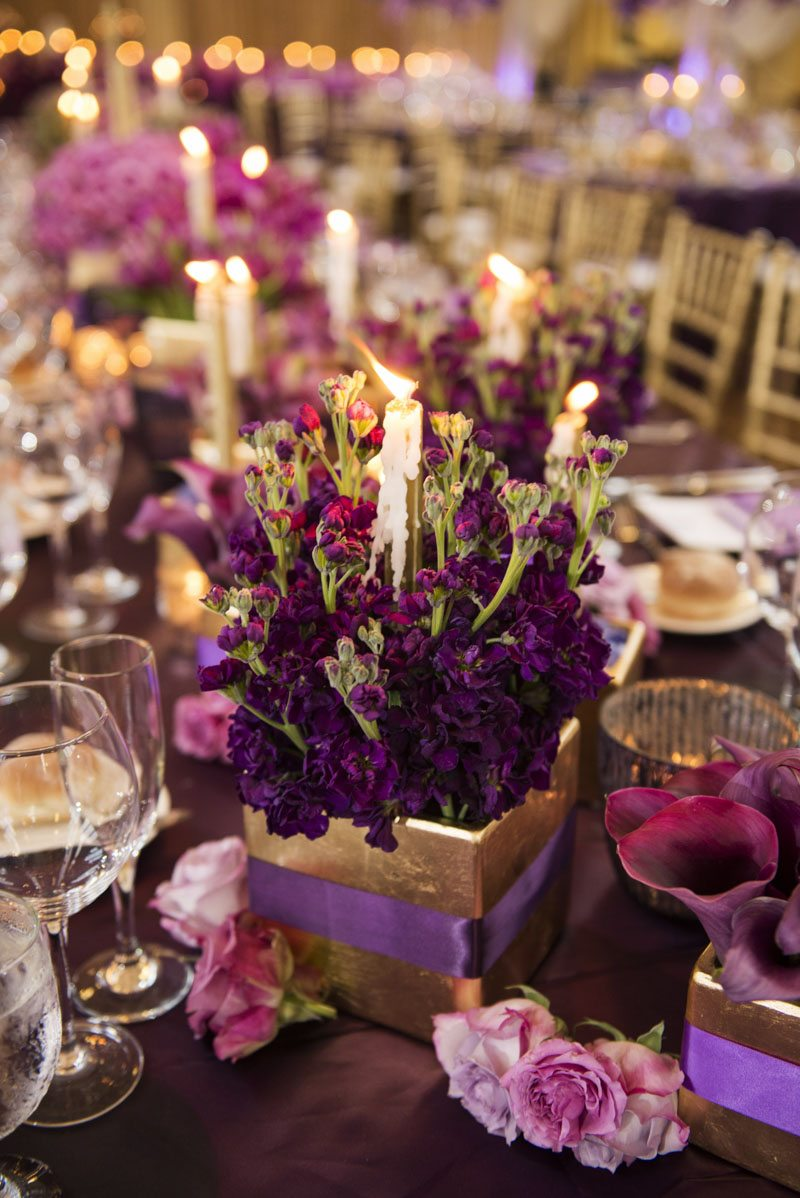 purple-flower-and-candle-centerpiece