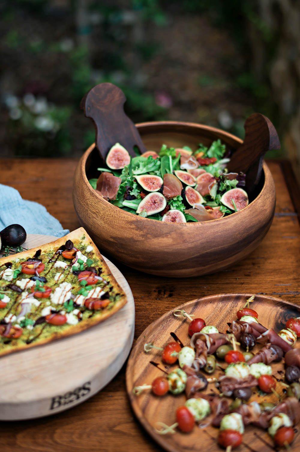 salad flatbread pizza and kabob italian wedding food