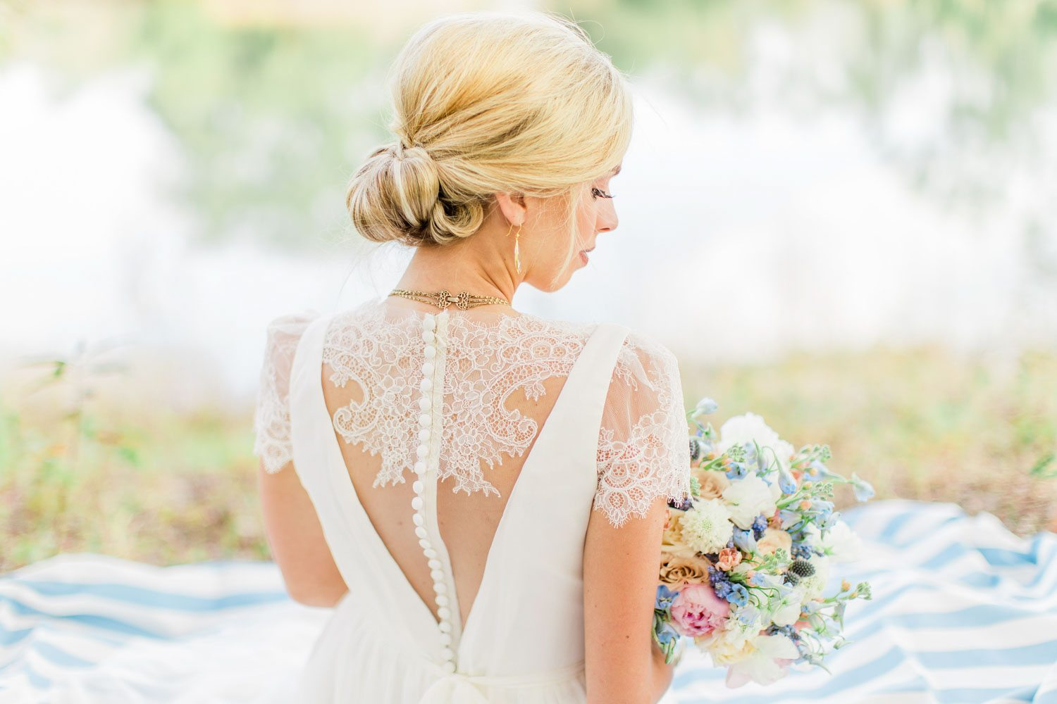 back of wedding dress with lace detailing