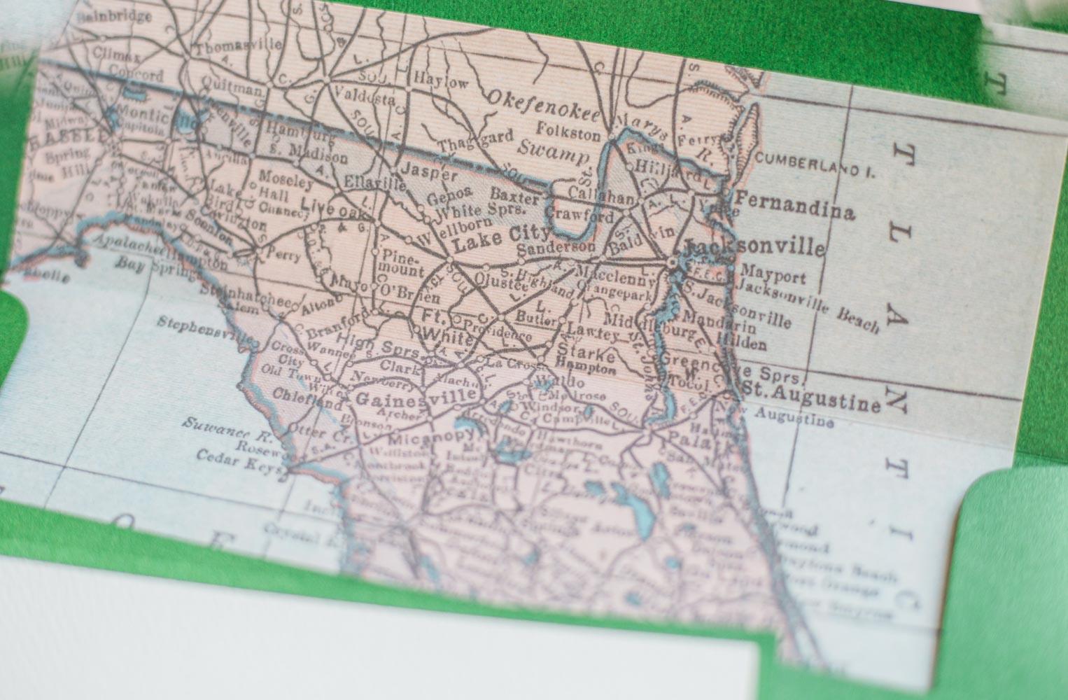map of florida detail on inside of envelope