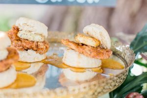 wedding food platter display with mini chicken and biscuit
