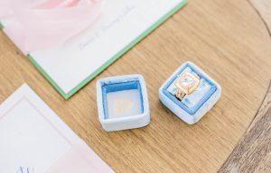 wedding ring in light blue box