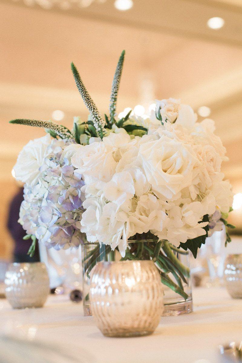 white-and-purple-flower-centerpiece