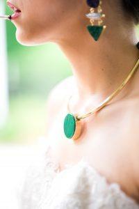 bridal jewelry emerald green purple gold