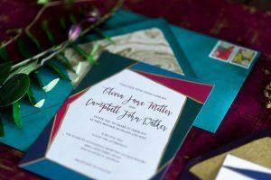 emerald magenta teal gold red multicolor wedding invitations