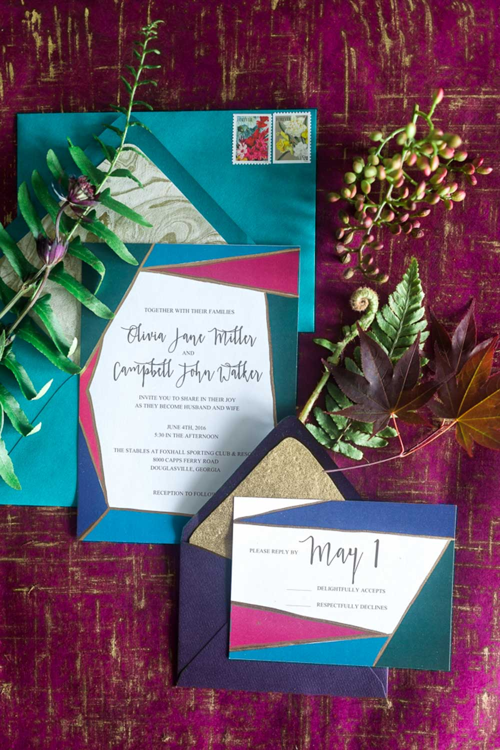 emerald magenta teal gold red multicolor wedding invitations