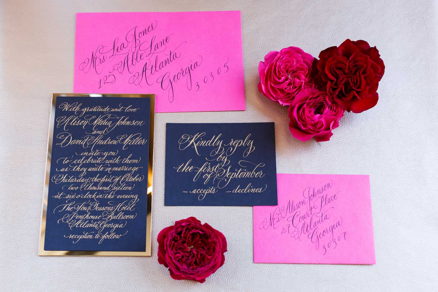 pink navy blue gold wedding invitations