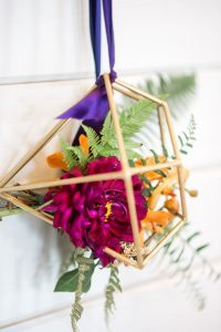 multicolored floral arrangement wedding decor gold