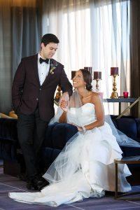 colorful wedding bride groom boutonniere plum tuxedo jacket