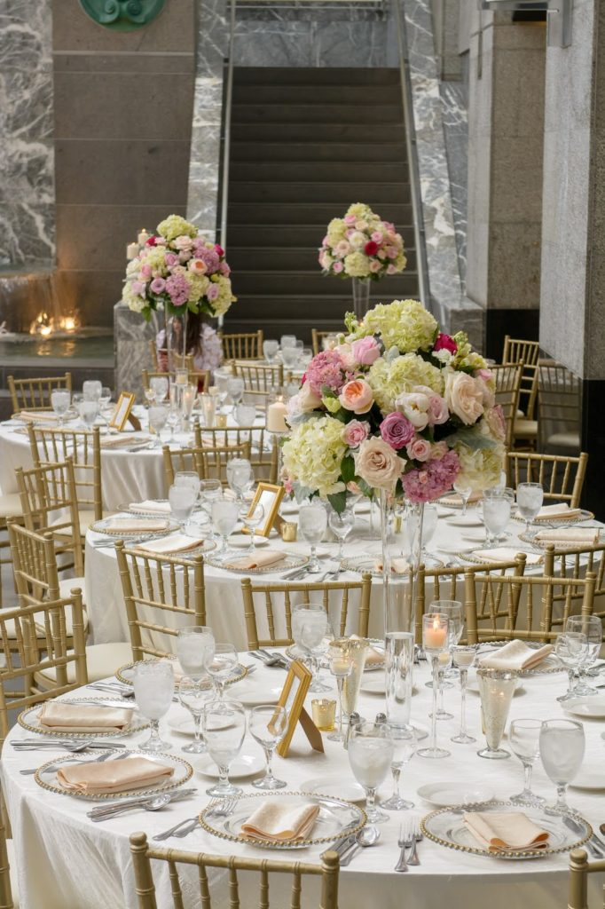 Reception That Lasted Long Into The Night Affair Incorporated Gold Details Large Floral Arrangements And A Stunning Black White Dance Floor