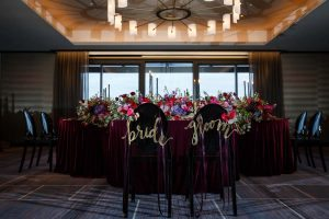 colorful weddings gold bride and groom chair decoration