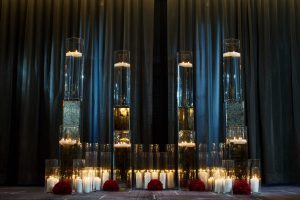 wedding decor bold weddings glass candles red flowers