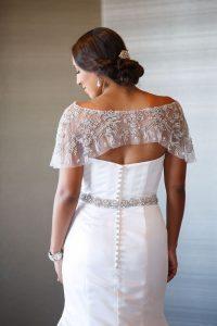 wedding updo bridal hair beaded lace detail wedding dress hair accessories