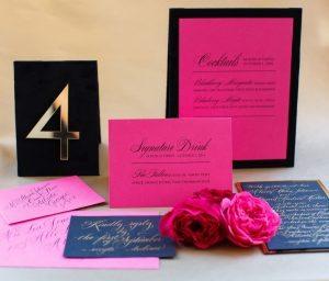 wedding stationery wedding invitations navy blue gold pink black