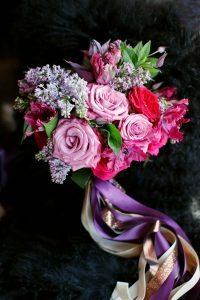 brida bouquet colorful pink purple gold