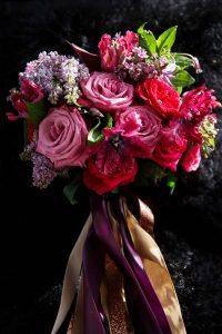 bridal bouquet red pink purple