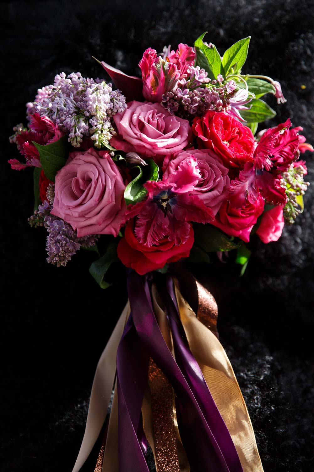 bridal bouquet red pink purple