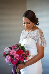 bridal bouquet updo hairstyle colorful weddings
