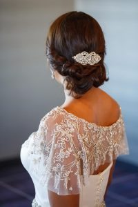 bridal updo hairstyle silver hairpiece