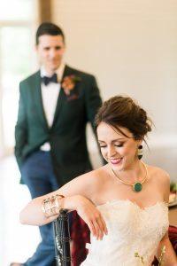 colorful bridal accessories green purple emerald gold