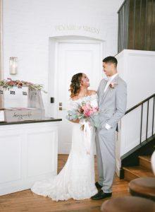 bride groom reception venue gelato station gray tuxedo pink bridal bouquet