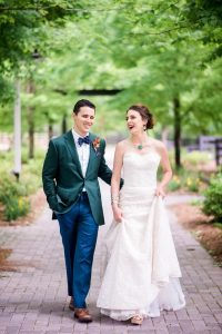 bride and groom multicolored wedding lace wedding dress green blue tuxedo orange yellow red boutonniere bridal jewelry