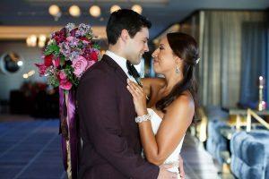 bride groom bold wedding silver bridal accessories pink purple red gold bridal bouquet
