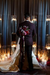 purple pink red gold bridal bouquet candles bold wedding