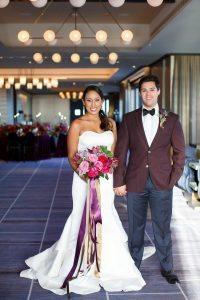 bride groom colorful weddings bridal bouquet boutonniere purple pink red gold maroon groom fashion wedding dress