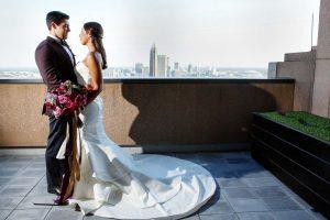 bride groom colorful weddings purple pink gold bridal bouquet