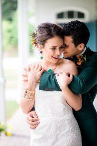 bride groom multicolored wedding emerald purple gold