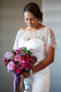 bride lace dress bridal updo colorful wedding bridal bouquet