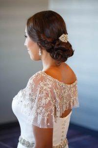 bride wedding wedding dress beaded details bridal hairstyles