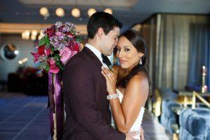 colorful weddings bride groom purple red pink gold bridal accessories bridal hair