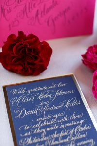 colorful weddings stationery navy and gold calligraphy