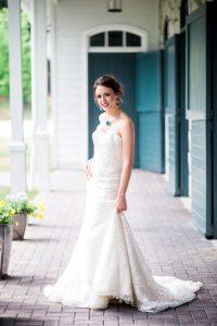 lace wedding dress colorful bridal jewelry