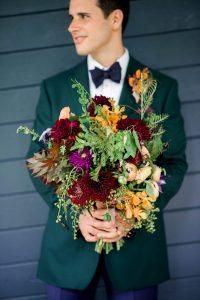 red magenta orange peach bridal bouquet