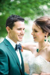 colorful wedding emerald green tuxedo jacket gold purple silver emerald bridal jewelry