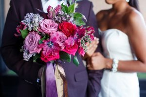 colorful wedding pink red purple gold bridal bouquet