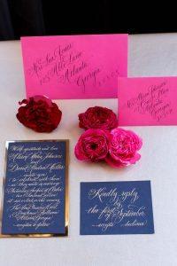 pink navy blue gold wedding invitations