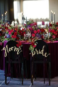 bride groom chair decorations colorful bold wedding table purple pink red gold